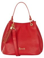 Harrods Ash Snake-Embossed Bucket Bag