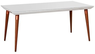 Manhattan Comfort Utopia 70.86 In. Modern Beveled Rectangular Dining Table with Glass Top