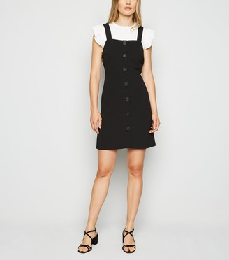 New Look Button Front Fitted Pinafore Dress