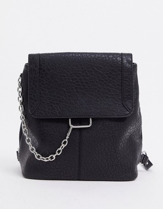 ASOS DESIGN backpack with grunge chain in black
