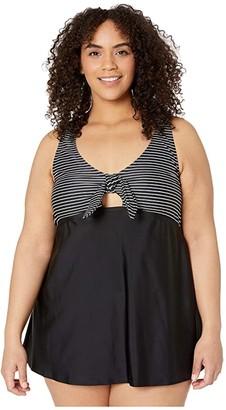 Speedo Plus Size Print Swim Dress (Black/White) Women's Swimsuits One Piece