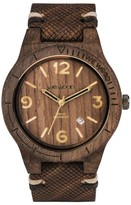 WeWood Men's Alpha Wood Leather Strap Watch, 46Mm
