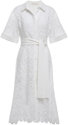 Maje Ralfa Belted Crepe-trimmed Guipure Lace Midi Shirt Dress