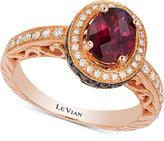 LeVian Le Vian Chocolatier® Rhodolite Garnet (1-1/10 ct. t.w.) and Diamond (3/8 ct. t.w.) Ring in 14k Rose Gold
