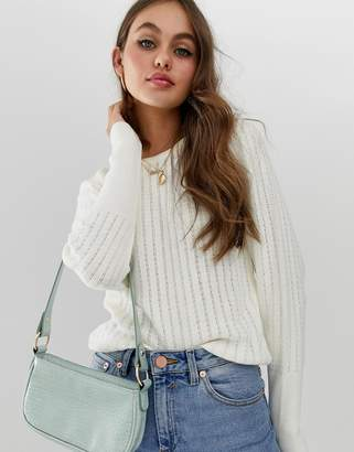 Asos Design DESIGN stitch detail jumper with puff sleeve-Cream