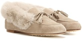 Loro Piana Chalet fur-trimmed suede slippers