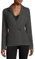 Loro Piana Giacca Herringbone Cashmere-Silk Sweater Jacket