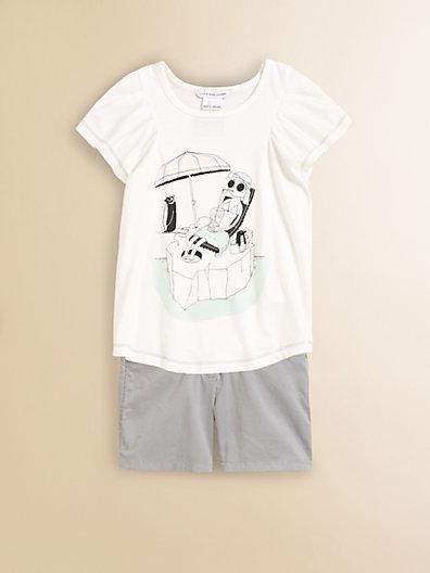 Little Marc Jacobs Girl's Printed Flutter Shirt