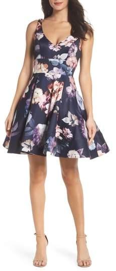 Xscape Evenings Floral Print Fit & Flare Dress