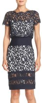 Tadashi Shoji Mixed Media Blouson Dress (Regular & Petite)