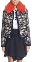Carven Women's Faux Fur Collar Tweed Jacket