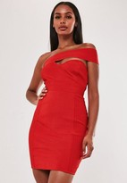 Missguided Premium Red Bandage One Shoulder Bodycon Mini Dress