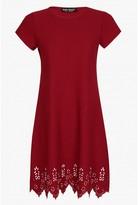 Select Fashion Fashion Womens Red Laser Cut Cap Slv Shift Dress - size 6