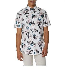 Ben Sherman Ss Large Scale Floral Shirt Off White