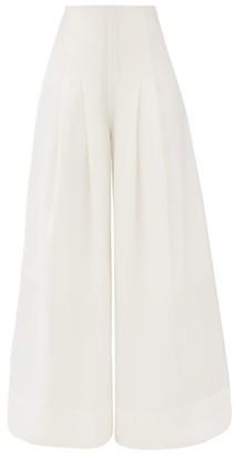 Jacquemus Arcello High-rise Slubbed Wide-leg Trousers - Cream