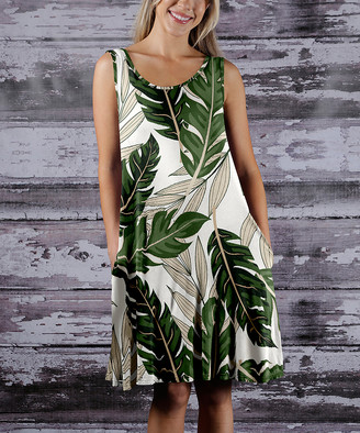 BEIGE Beyond This Plane Women's Casual Dresses GRN - Green & Leaf Sleeveless Pocket Tunic Dress - Women & Plus