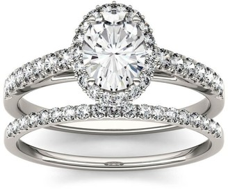 Charles & Colvard Created Moissanite 14k White Gold 1.28ct Moissanite Oval Halo Bridal Set