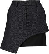 Marissa Webb Sloan layered wool-blend and crepe mini skirt