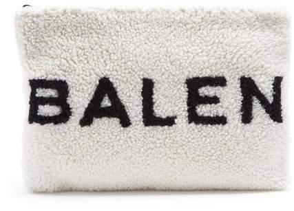 Balenciaga Shearling Pouch - Womens - White Black