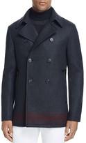 John Varvatos Collection Stripe Hem Leather Trim Pea Coat - 100% Bloomingdale's Exclusive