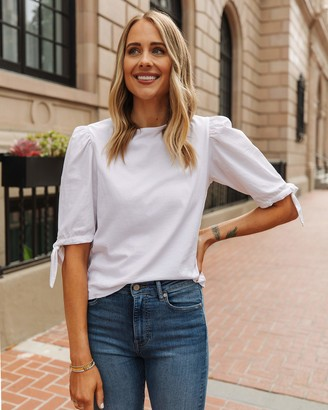 The Drop Women's White Combined Fabric Tie-Sleeve Top by @fashion_jackson S
