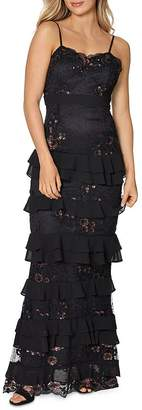 Laundry by Shelli Segal Embellished Tiered Lace Gown