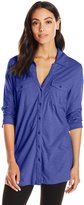 Caribbean Joe Women's Mixed Media Three Quarter Sleeve Tunic Length Collared Button Up