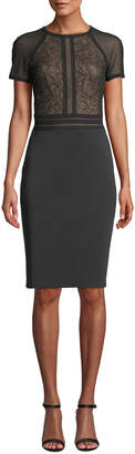 Tadashi Shoji Short-Sleeve Sheath Dress with Lace Bodice & Neoprene Skirt
