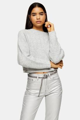 Topshop Grey Marl Super Soft Knitted Raglan Jumper