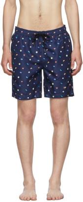 Onia Blue Mini Geo The Charles 7 Swim Shorts