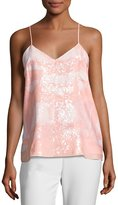 Halston Sequined-Bib Camisole, Light Pink
