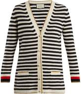 Gucci Striped wool and cashmere-blend knit cardigan