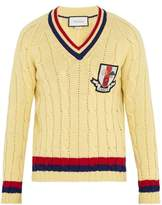 Gucci Crest-appliqué Cable-knit Wool Sweater
