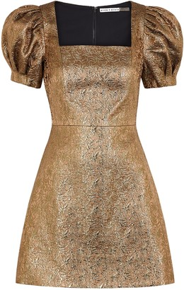 Alice + Olivia Kalen Bronze Metallic-jacquard Mini Dress