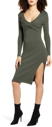 Leith Twist Front Long Sleeve Sweater Dress
