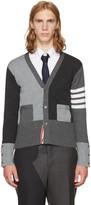 Thom Browne Grey Classic Four Bar Funmix V-neck Cardigan