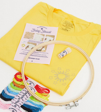 Daisy Street relaxed t-shirt with celestial DIY embroidery kit