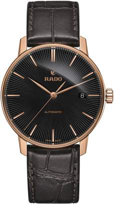 Rado Coupole Classic Black Stainless Steel Leather Strap Automatic Watch