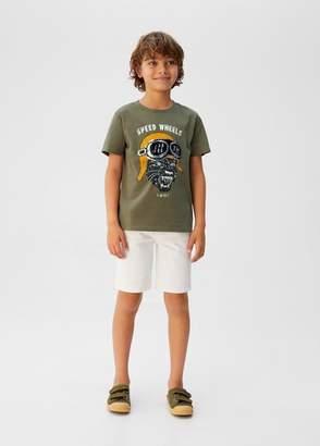 MANGO Sequined message t-shirt mustard - 9 - Kids