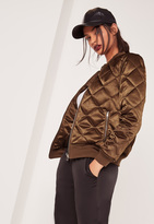 Missguided Quilted Satin Bomber Jacket Brown