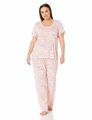 Hue Women's Printed Short Sleeve Tee and Long Pant 2 Piece Pajama Set