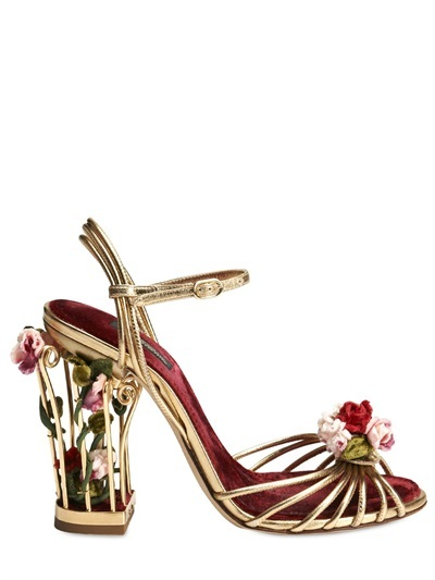 Dolce & Gabbana 105mm Rose Calf Leather Cage Sandals