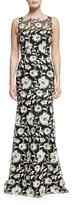 David Meister Floral Sleeveless Illusion Gown, Black/White