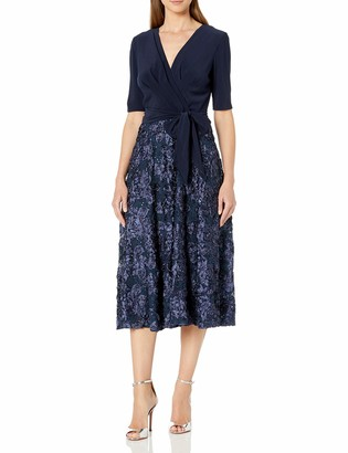 Alex Evenings Women's Tea Length Dress with Rosette Skirt and Tie Belt navy 16