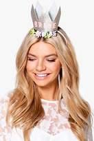 boohoo Womens Connie Hen Bride Slogan Crown Headband in Gold size One Size
