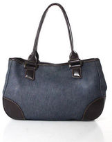 Longchamp Blue Denim Brown Leather Trimmed Satchel Handbag