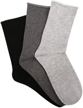 Ambra Cotton Blend Comfy Crew Socks 3 Pack Char