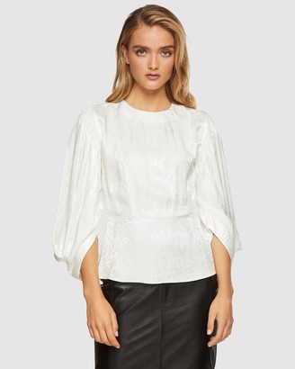 Oxford Noelle Puff Sleeve Jacquard Top