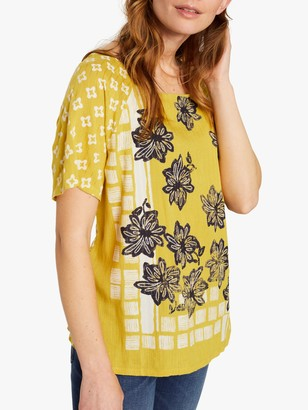 White Stuff Mallory Floral Top, Mustard Yellow