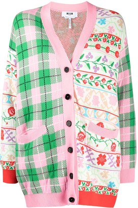 MSGM Floral Check Patchwork Cardigan